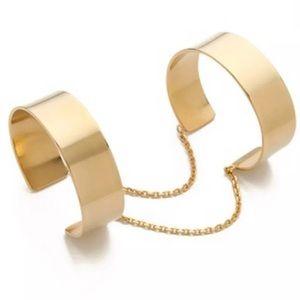 Gold double arm band chain harness bracelet slave